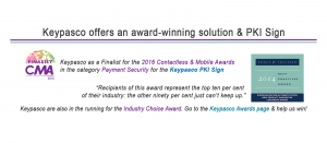 Contactless Intelligence Announces Keypasco as a Finalist for the 2016 Contactless & Mobile Awards